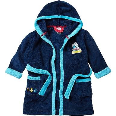 19477a1b38 Thomas and Friends Boys Hooded Polar Fleece Dressing Gown Robe   Amazon.co.uk  Clothing