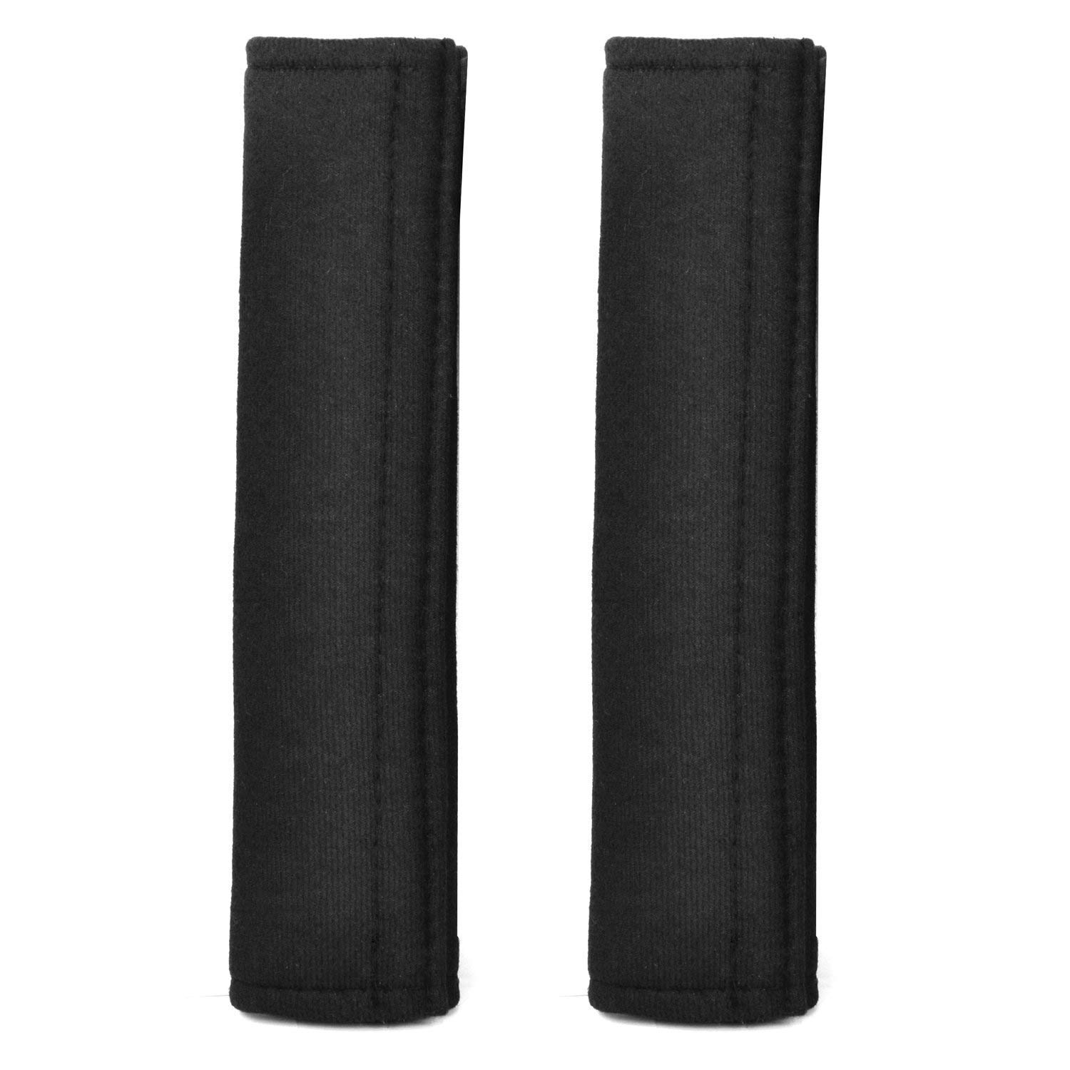 SODIAL Seatbelt Strap Cover - 2 Car Seat Belt Comfort Pads with Hook and Loop - Black Travel Cushion Seat Belt Covers