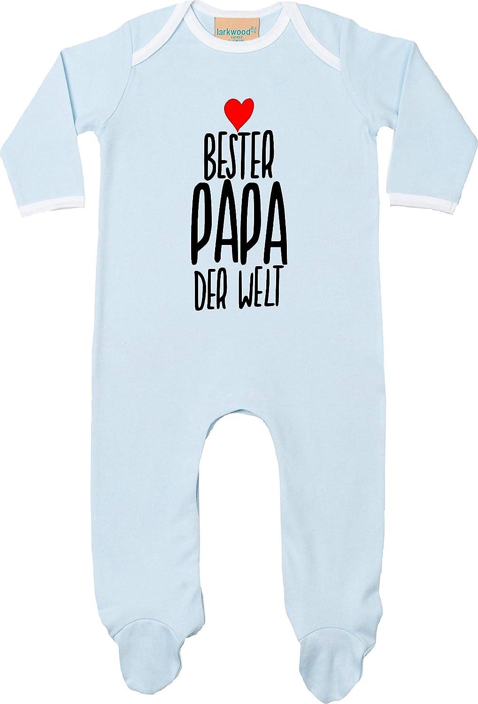 Kleckerliese Baby Schlafanzug Sleepsuit Longsleeved Jungen M/ädchen Strampler Langarm Einteiler mit Aufdruck Motiv Bester Papa der Welt