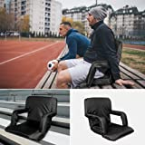 Portable Stadium Seat Chair, Tcamp Reclining Bleacher Seats with Soft Cushion Backs, Armrest Support, Shoulder Straps