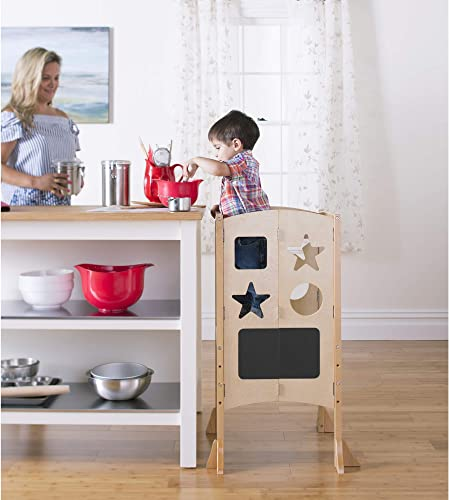 Guidecraft Classic Kitchen Helper Stool - Natural: Adjustable Height, Folding Step Stool for Little Kids, Toddler Safety Cooking Tower with Write-on...