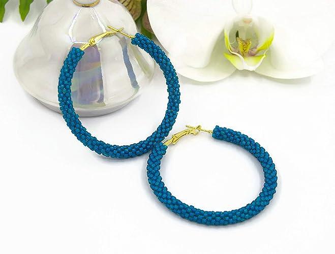 5d4dbec40 Navy blue Beaded Hoop earrings/Handmade jewelry for women/Beadwork earrings/Geometric  earrings/Big seed beads earrings/Beading/Women's Jewelry Fashion/gift ...