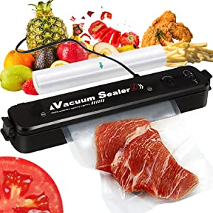 Premium Vacuum Sealer Machine, Food Sealer for Kitchen with Vacuum Bags, Red