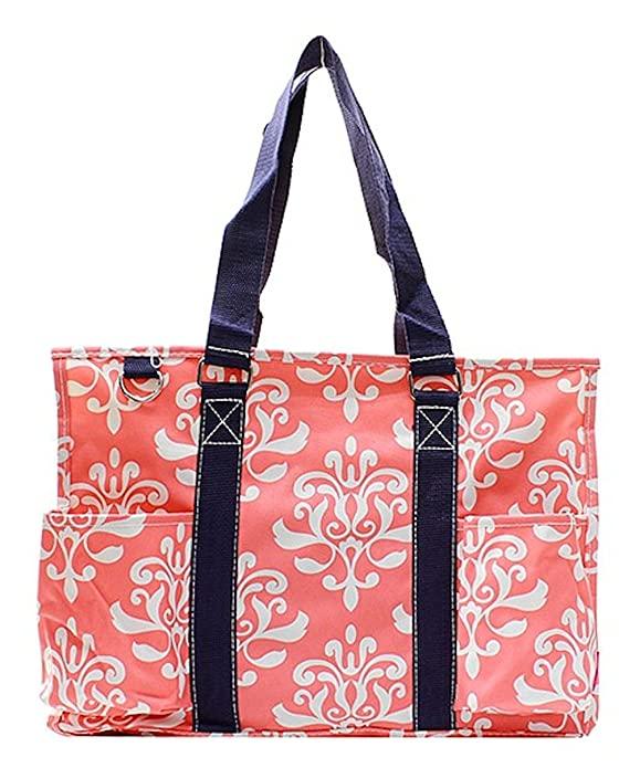 N Gil All Purpose Organizer Medium Utility Tote Bag 2 (Bloom Damask Coral) best beach bag