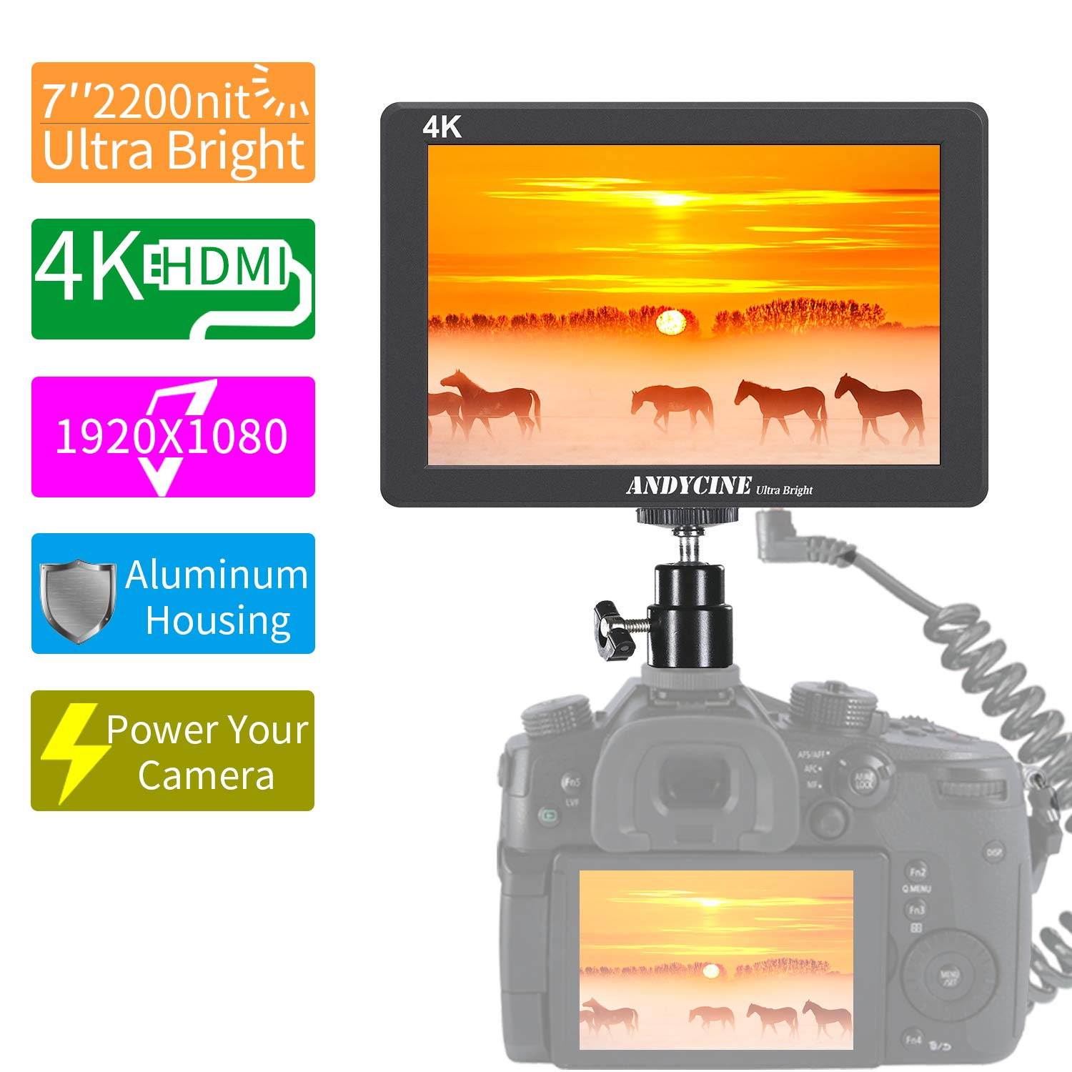 ANDCYINE X7 7Inch Ultra Brightness Camera Video Monitor CNC Al Housing 1920x1080 Camera Filed Monitor Accept 4K HDMI Input/Output Camera Field Monitor Compatible for Sony,Canon,Panasonic,Fuji DSLR by ANDYCINE
