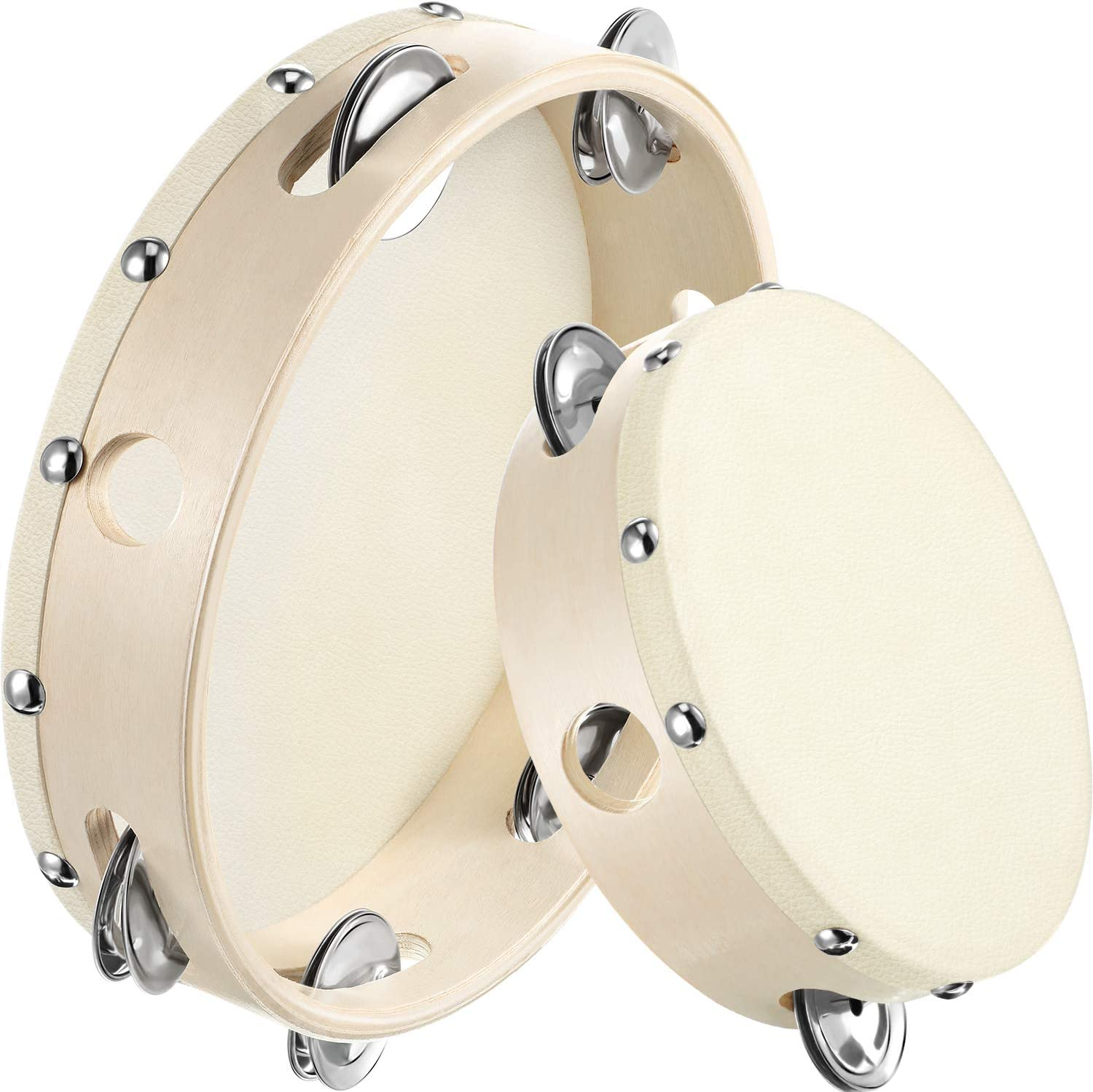 2 Pieces (6 Inch and 8 Inch) Wood Handheld Tambourine Single Row, Tambourines with Jingle Bells(Ecru)