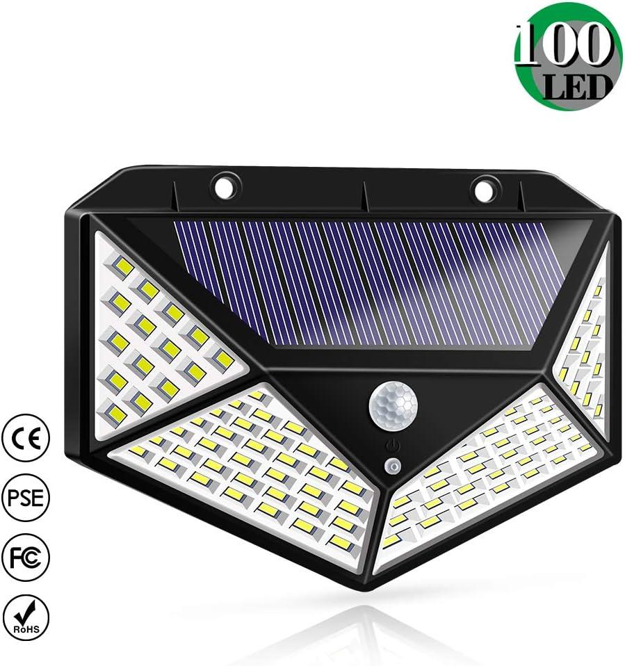 Luz Solar Exterior, Bicolor 100 LED Foco Solar Exterior con Sensor de Movimiento 1800mAh Impermeable Inalámbrico Lámpara Solar 3 Modos y Gran Ángulo 270° Inteligentes para Jardín, Garaje