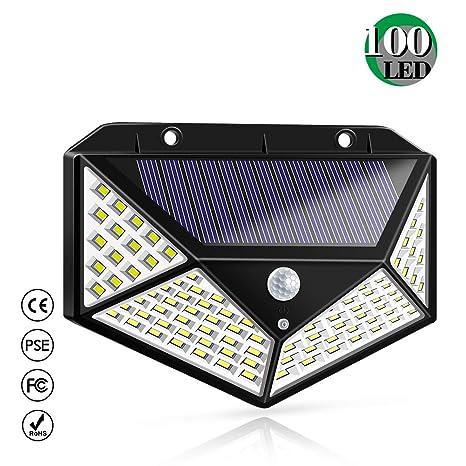 Luz Solar Exterior, Bicolor 100 LED Foco Solar Exterior con Sensor de Movimiento 1800mAh Impermeable Inalámbrico Lámpara Solar 3 Modos y Gran Ángulo ...