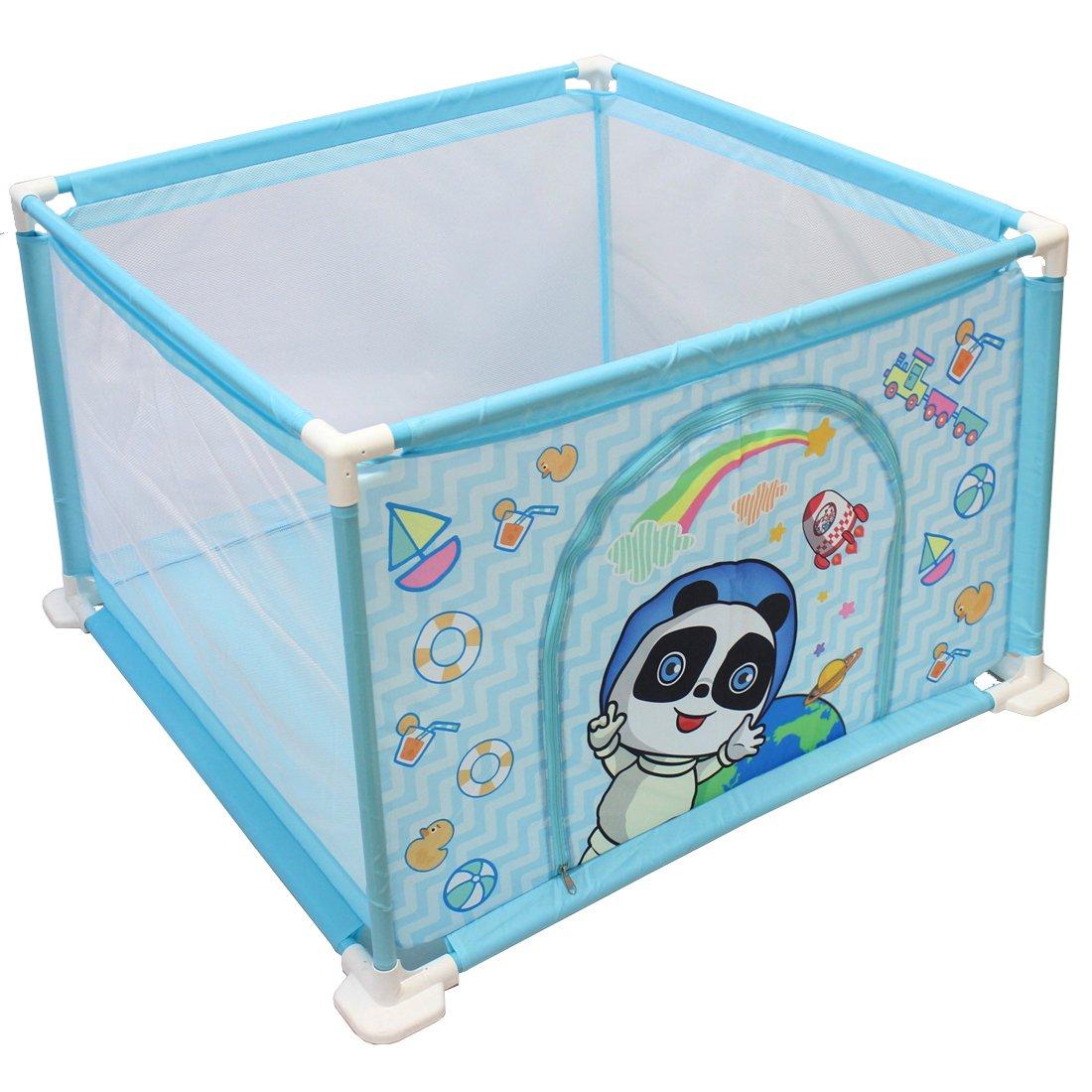 BLAU Quadrat deAO Sicherheitslaufstall mit intergriertem B/ällebad f/ür Babys und Kleinkinder