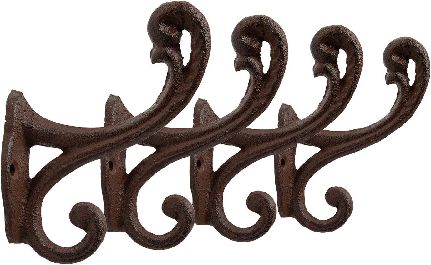 Vintage Hooks for Farmhouse D/écor Cast Iron Hooks in Rustic Brown Color Shabby Chic Set of 4 Wall Mounted Hooks for Coats Sturdy Bags Towels and More Decorative Rustic Wall Hooks