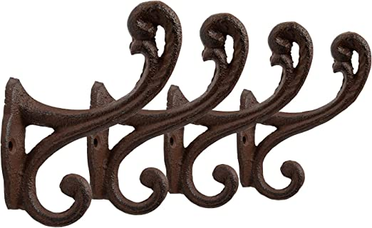 4 Ornate Cast Iron Coat Hooks Hat Wall Rustic Antique Vintage Style Brown