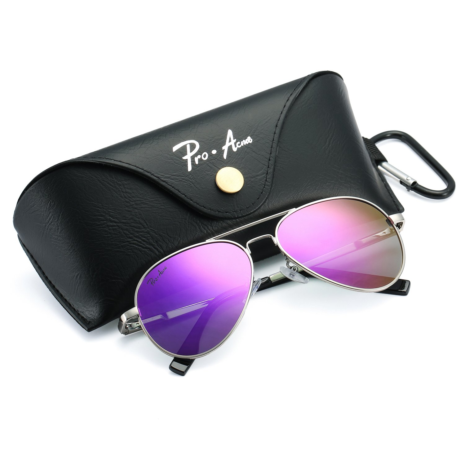 Pro Acme Small Polarized Aviator Sunglasses for Adult Small Face and Junior,52mm (Silver Frame/Purple Mirrored Lens)