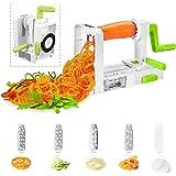 Deik Spiralizer Coupe-légumes, 5 lames spirale de légumes, pliable trancheuse spirale, Meilleur courgettes nouilles et légumes Pâtes et Spaghetti Maker pour Low Carb/Paléo/repas sans gluten