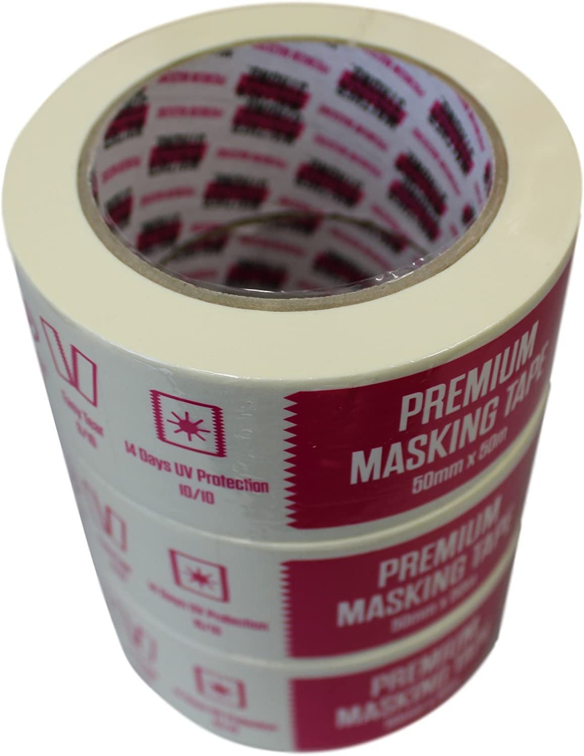 Walther Strong Premium Low Tack Masking Tape 3 x 25mm x 50m Rolls Beige