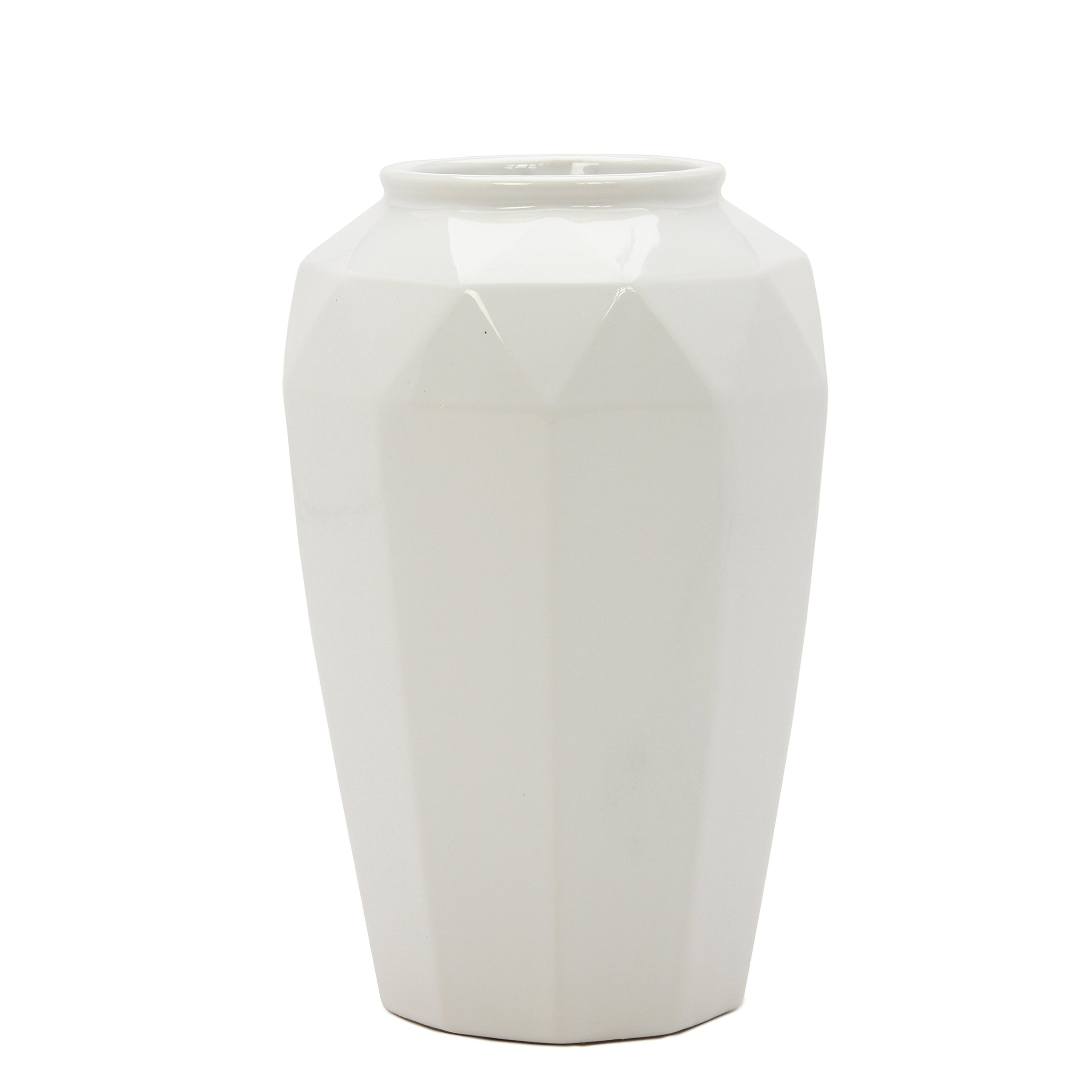Hosley 8.5'' High, Geo Ceramic Rose Flower Vase - White. Ideal Gift for Home, Weddings, Party, Spa, Meditation, Home Office, Reiki, Meditation O5