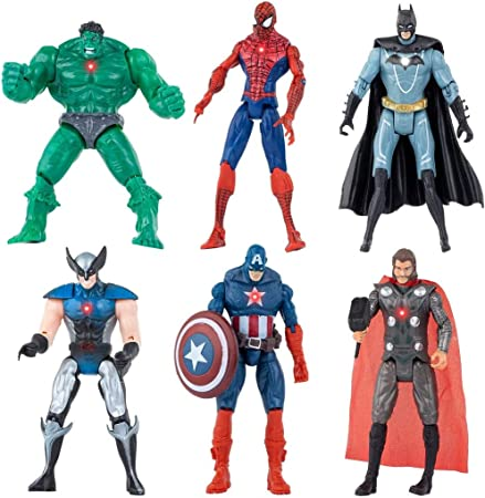 Superhero Action Figures - 6 PCS Action Figure Set - Batman, Superman, Hulk, Thor, Ironman, Captain America PVC Figure Toy Dolls – Hero Cake Toppers,Figure Toy Dolls Legends Collectible Model Gift