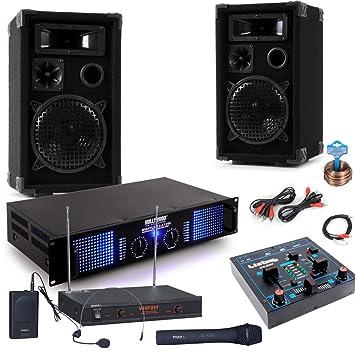 1800W PA Karaoke altavoces estéreo Amplificadores de mezclas de DJ micrófono inalámbrico Burn 3