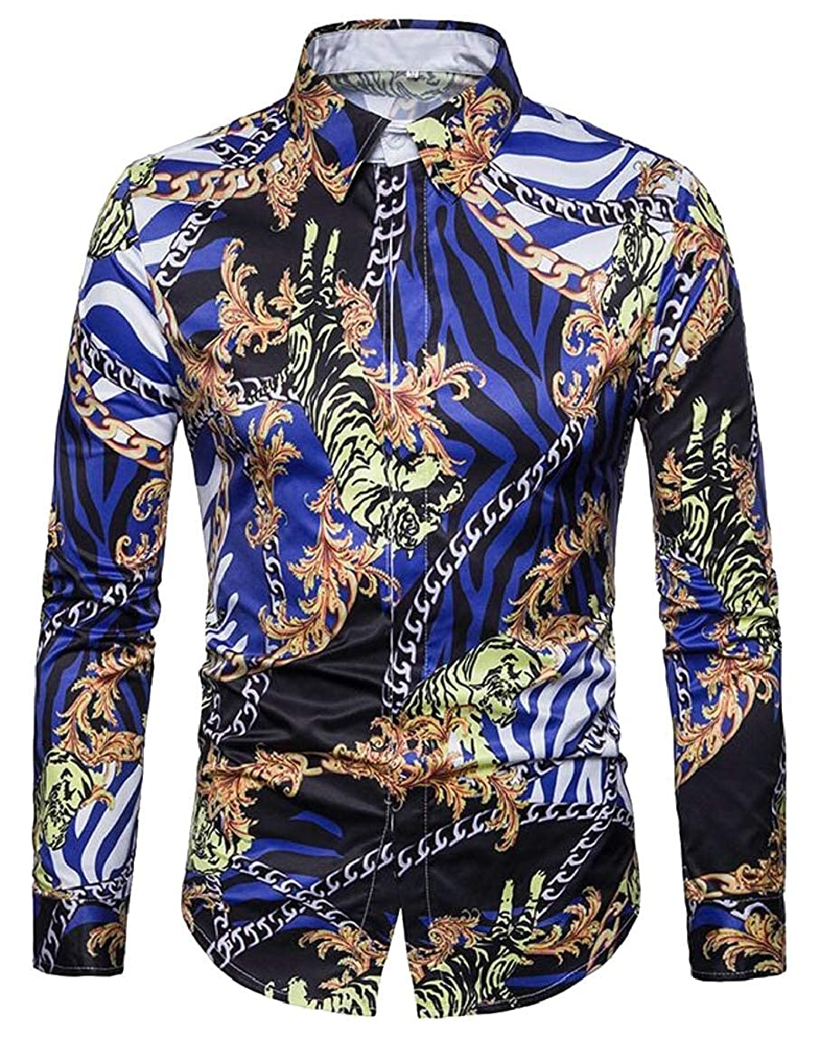 HTOOHTOOH Mens Casual Button Down Shirt Slim Long-Sleeved Chain Printed Top
