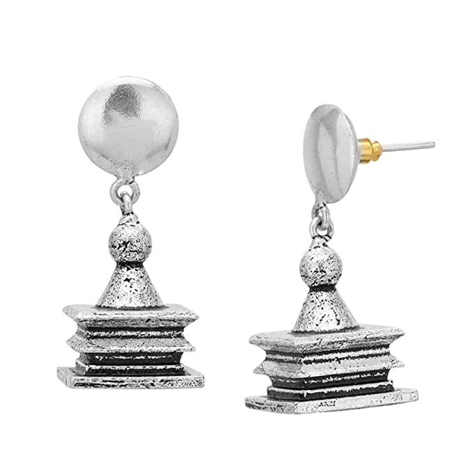 a80b9f4a091ee Buy Tjori Tribal/African Silver Plated Brass Drop Earrings Temple ...