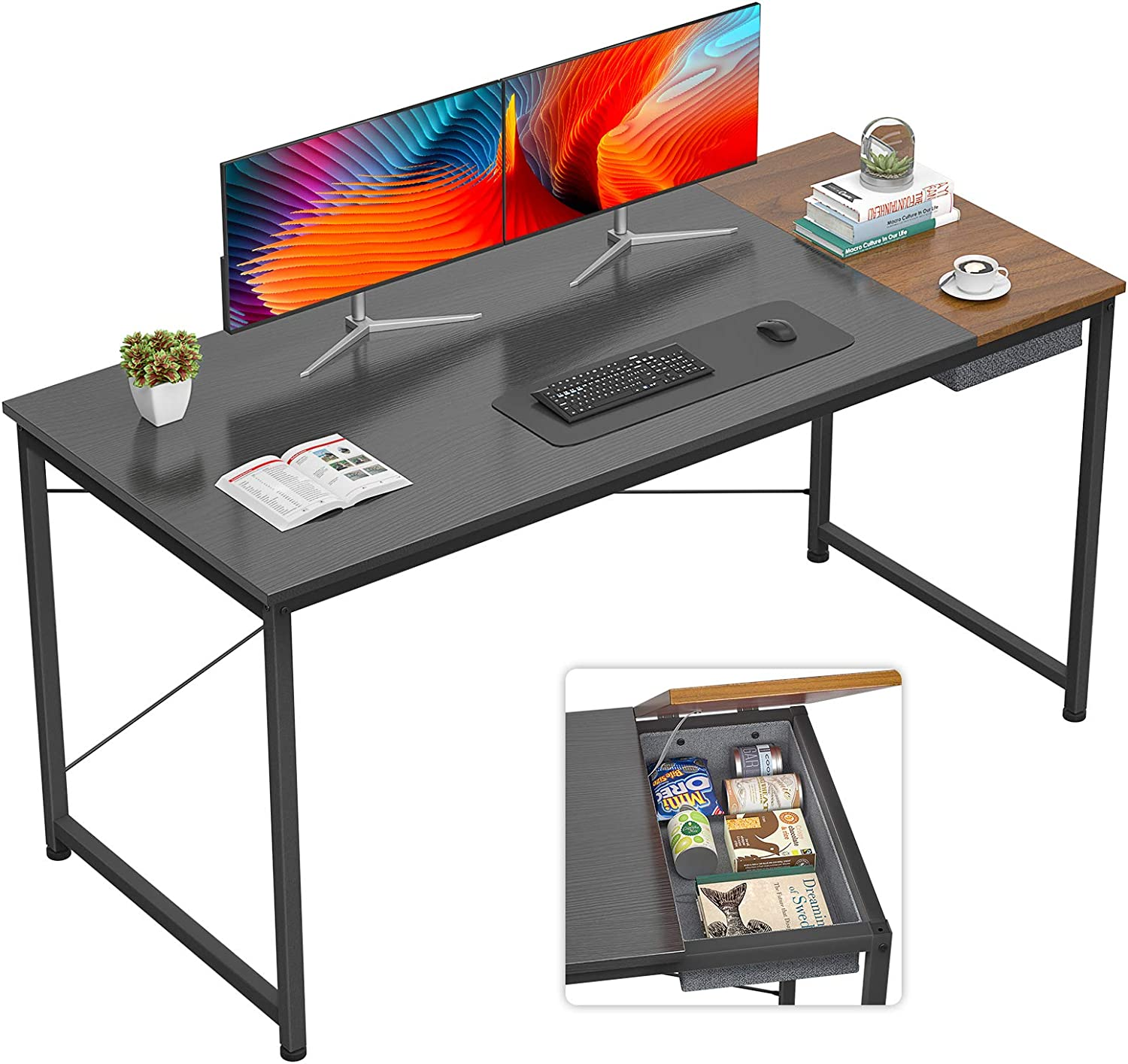 Foxemart Computer Desk, 55 Inch Study Writing Desk for Home Office Workstation, Modern Simple Style Laptop Table with Storage Bag/Drawer, Black and Espresso