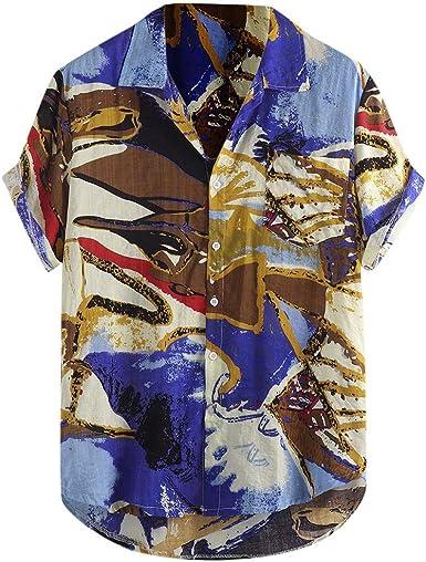 Modaworld - Camisa étnica para Hombre con impresión Tradicional Hippy Boho, Camisa para Hombre, Elegante, Slim Fit, Informal, Manga Corta Azul M: Amazon.es: Ropa y accesorios