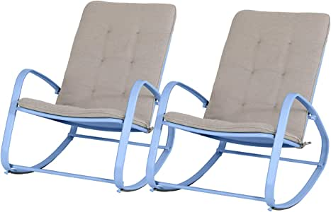 Sophia & William Outdoor Rocking Chair Set of 2 Padded Lawn Chairs Support 300lbs, Blue
