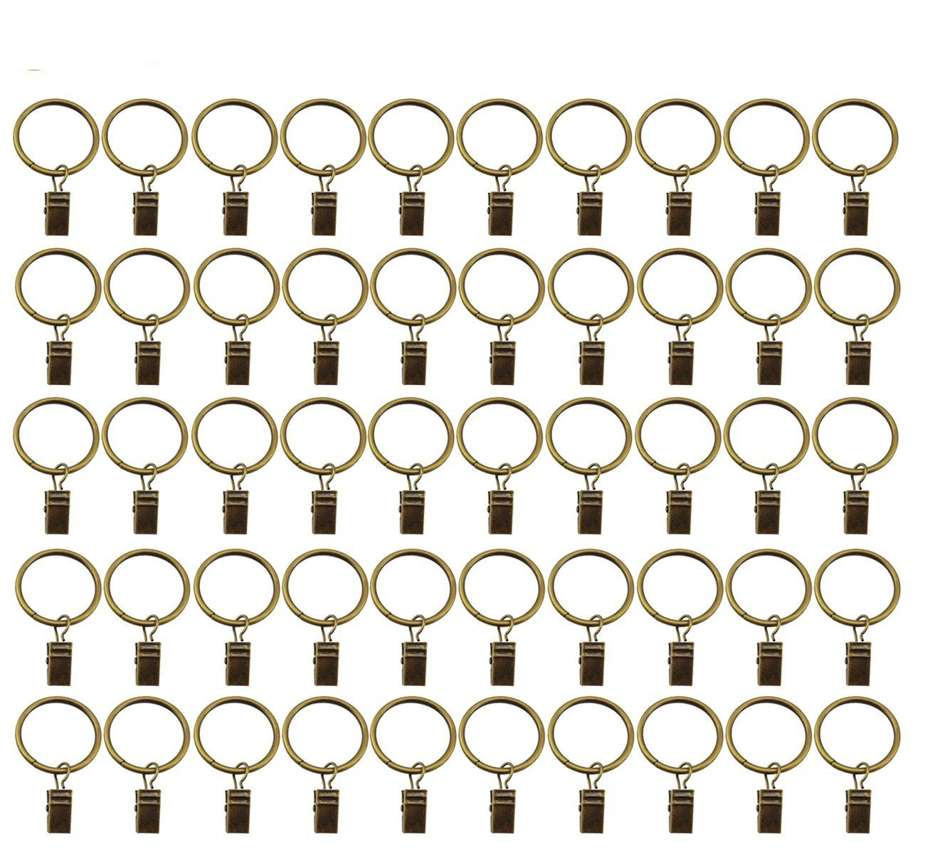 Saim Decorative Drapery Curtain Rings with Clips 1.1'' Outside Dia. Pack of 50