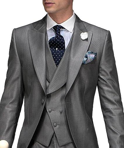 shenlinqij hombre 3 piezas traje de novio para Boda Gris Plata esmoquin a  medida  Amazon.com.mx  Ropa 35509e702ee