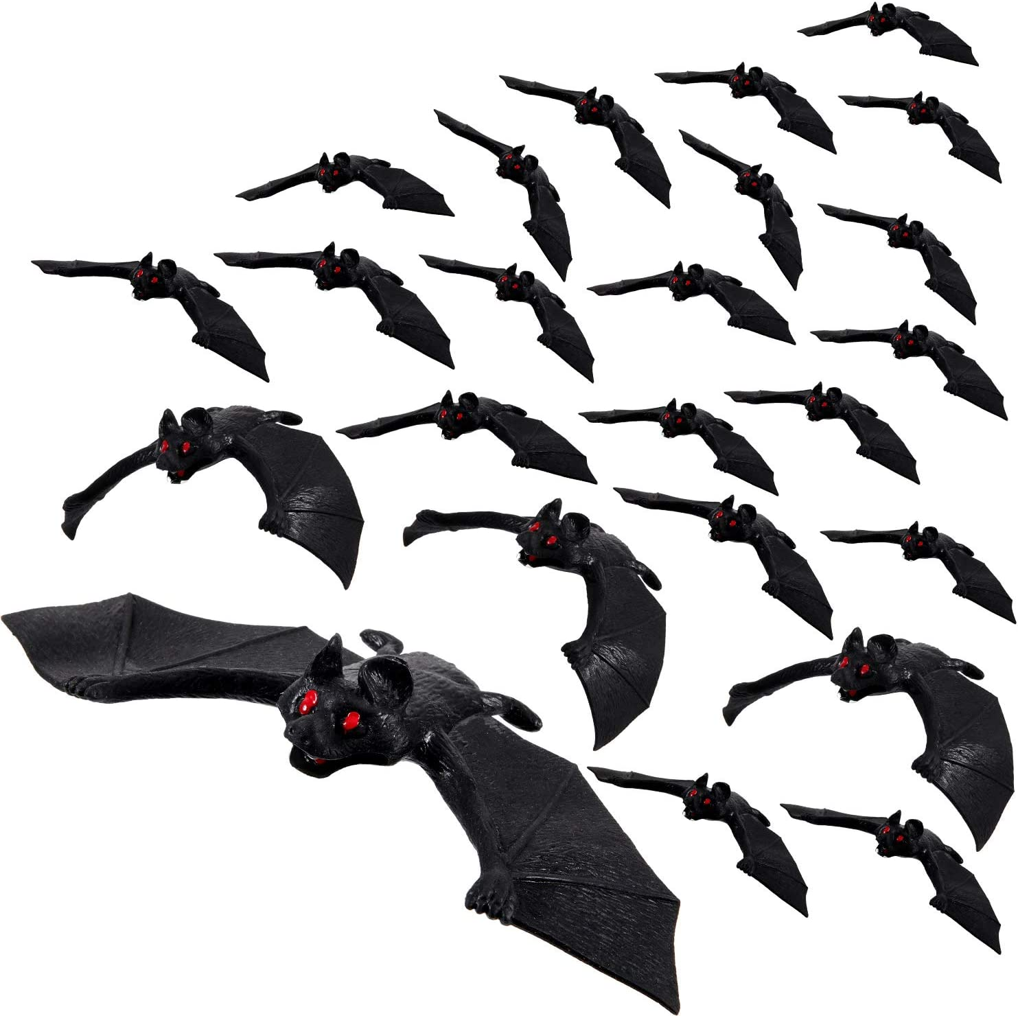 24 Pieces Halloween Hanging Bats Fake Rubber Bats Realistic Fake Spooky Hanging Bats Flying Bats Décor for Halloween Party Decoration,Haunted House Supplies,3 Size