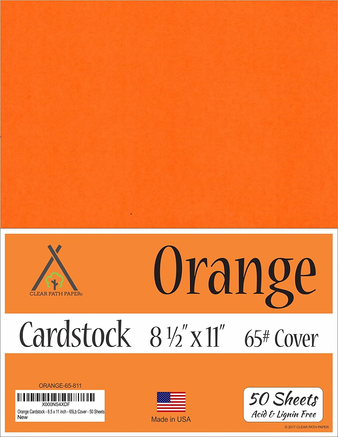 Orange Cardstock - 8.5 x 11 inch - 65Lb Cover - 50 Sheets Clear Path Paper SP-ORANGE-8.511-50PK