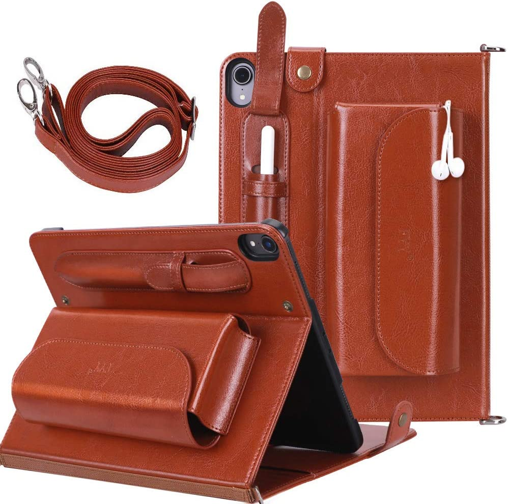 FYY New Apple iPad Pro 12.9 inch 3rd Generation 2018 Case [Support Apple Pencil Charging] Luxury Genuine Leather Case with [Charger Organizer] [Shoulder Strap] [Card Slots] [Multiple Angles] Brown