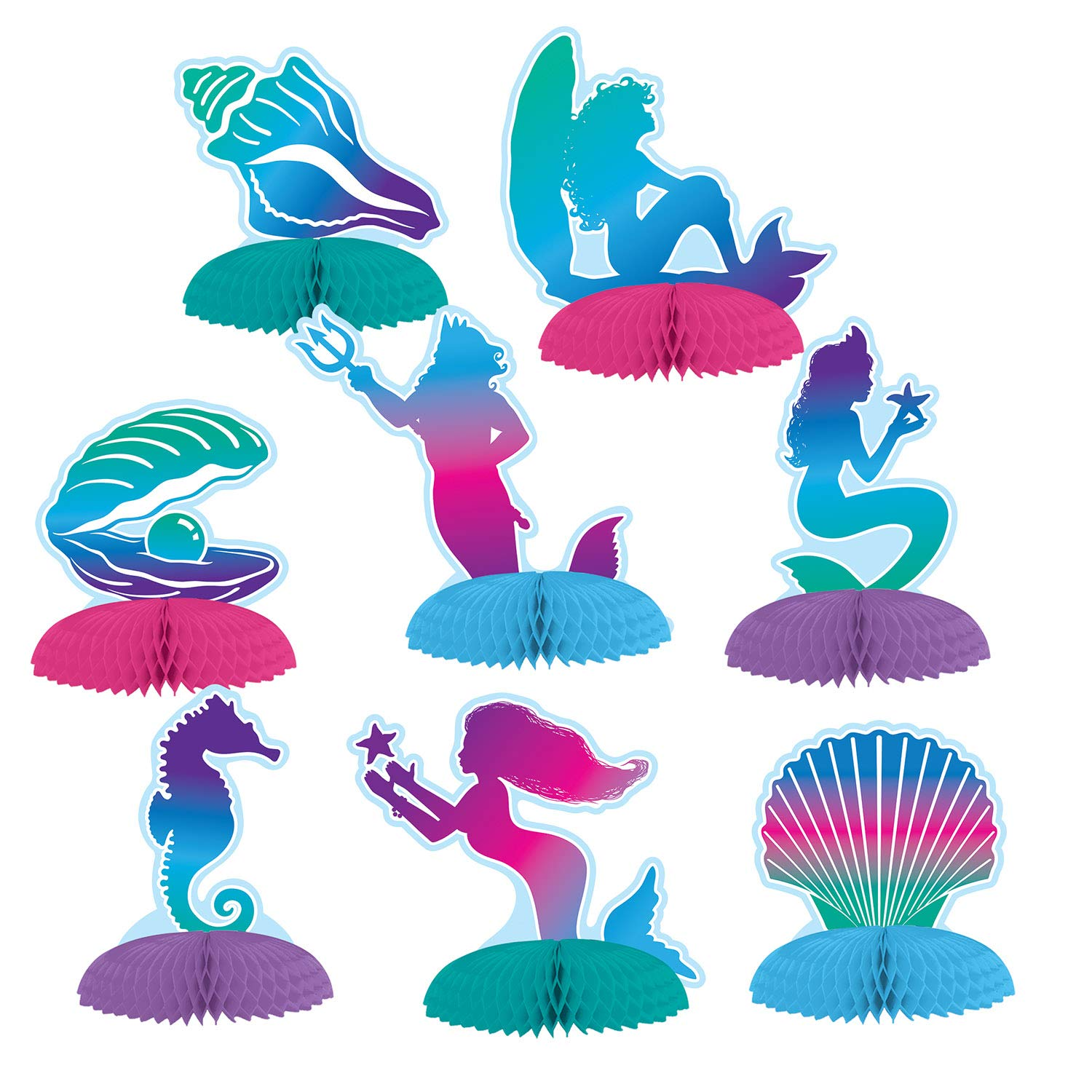 8Ct Mermaid Mini Tissue Centerpieces (Size: 3.6'' - 4.9'', Style: Mermaid, Pearl, Seashells, Starfish, Seahorses) Themed Party Table Decorations