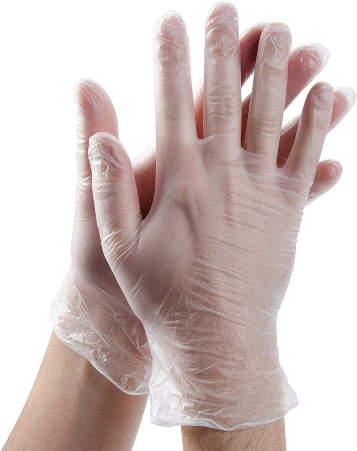 Disposable Latex Free Medical Vinyl Gloves, Disposable Vinyl Gloves, Powder-Free, Non-Sterile, Disposable, Food Safe,Clear Gloves, 4mil, Box of 100 pcs (50 Pairs)
