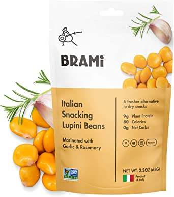 BRAMI Frijoles Lupini Merienda, Ajo y Romero   2.3 oz (paquete de 8)   9 g de proteína vegetal, 0 g de carbohidratos netos   Vegano, Vegetariano, ...