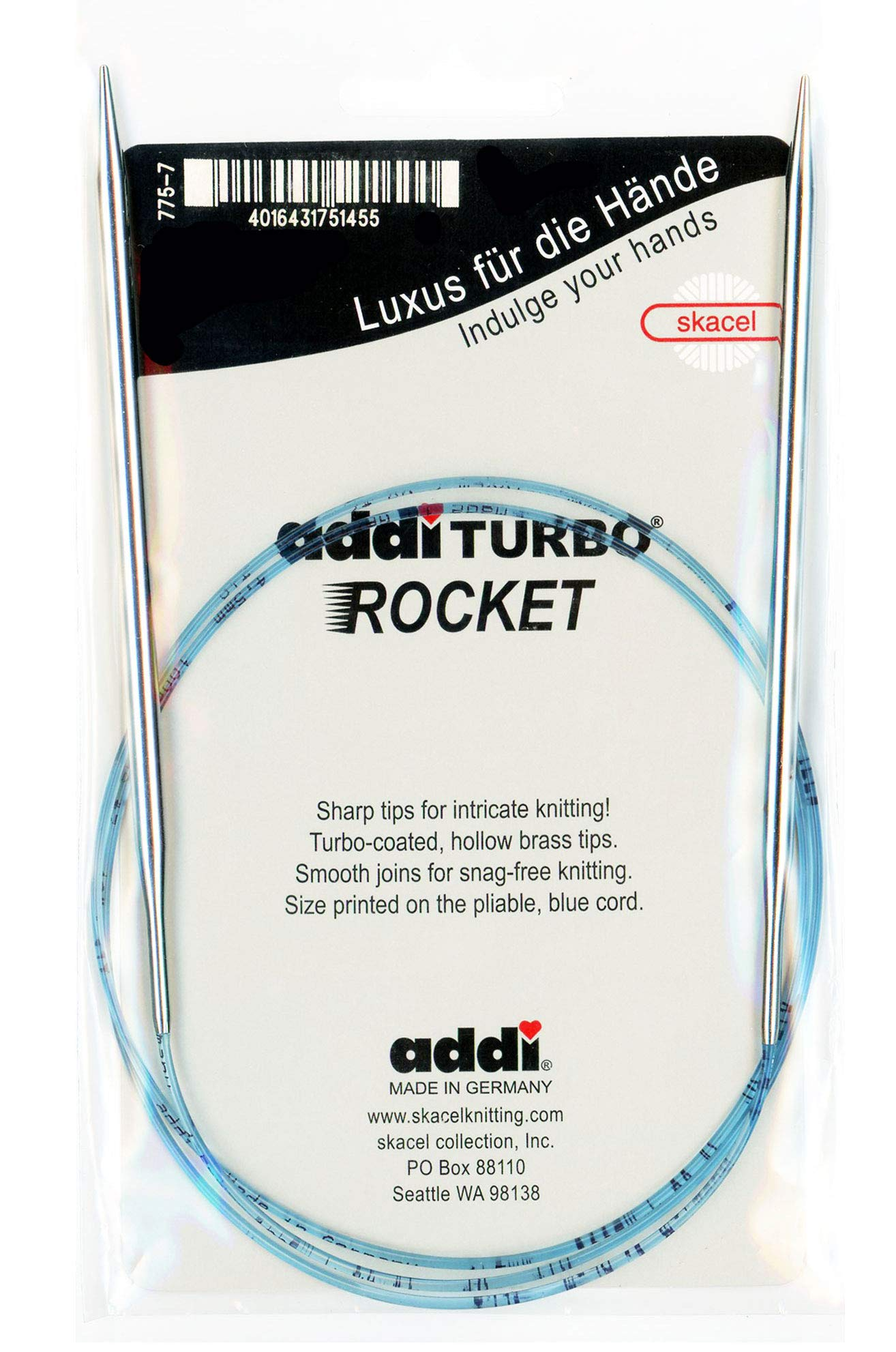 addi Knitting Needle Circular Turbo Rocket Lace Skacel Exclusive Blue Cord 40 inch (100cm) Size US 07 (4.5mm)