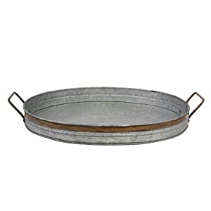 Stonebriar Oval Galvanized Serving Tray with Rust Trim and Metal Handles, Decorative Centerpiece for Coffee Dining Table, Large,