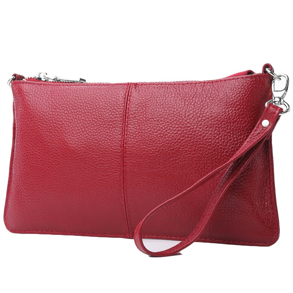 Lecxci Leather Crossbody Purses Clutch Phone Wallets with [Card Slots] for Women (Wine)