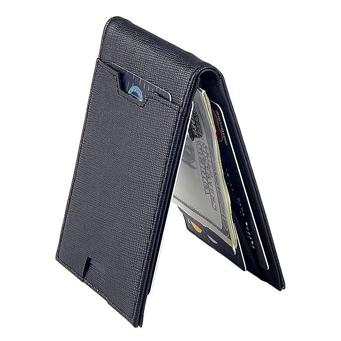 c5716b3a832c Men Bifold Wallet with Money Clip - Leather Minimalist Front Pocket RFID  Blocking