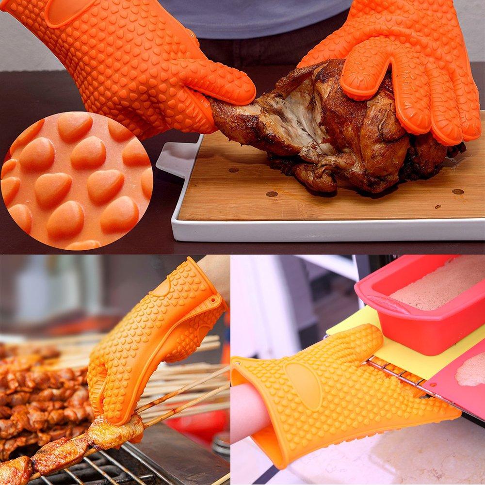 Guantes de horno para barbacoa, los mejores guantes versátiles resistentes al calor para parrilla de silicona aislada