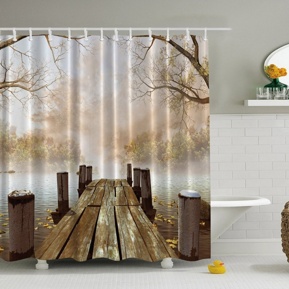 DENGYUE Morning Fog Diffusing Lake Shower Curtain, Old Wood Floor Extending to Moisture Covering Lakeside Leaf Floating on Water Finder Pine Straying into Fairyland Beautiful Scene Bathroom Curtain