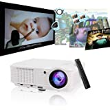 """200"""" Home Theater Projector 1080p 720p, Video Projector Full HD 3600 Lumens 50,000hrs LED Lamp, Indoor Outdoor Movie Projector for iPhone Smartphone TV DVD XBox PC Laptop Blue Ray Player"""