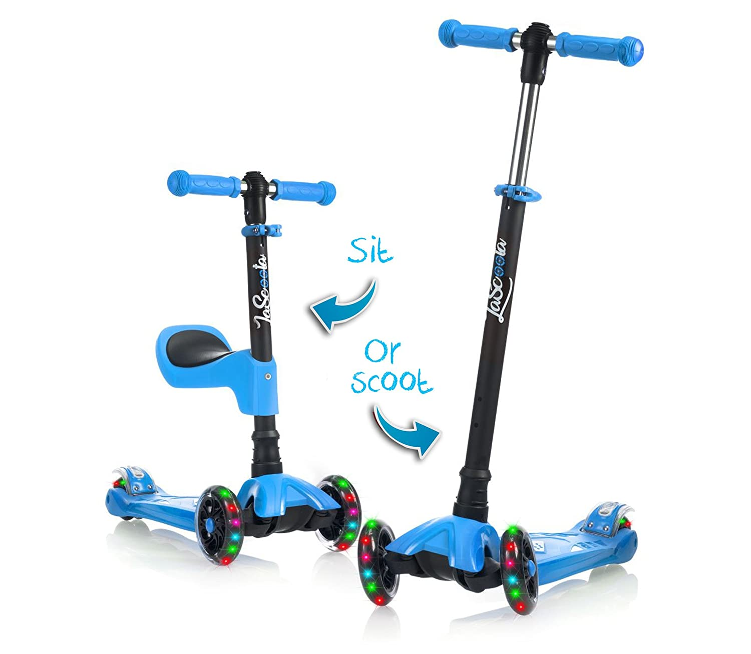 Lascoota 2 in 1 Kick Scooter with Removable Seat Great for Kids Toddlers Girls or Boys – Adjustable Height w Extra Wide Deck PU Flashing Wheels for Children from 2 to 14 Year Old
