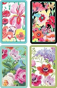 Caspari Entertaining Bundle of 2 Double Decks of Bridge Playing Cards, Jumbo Type