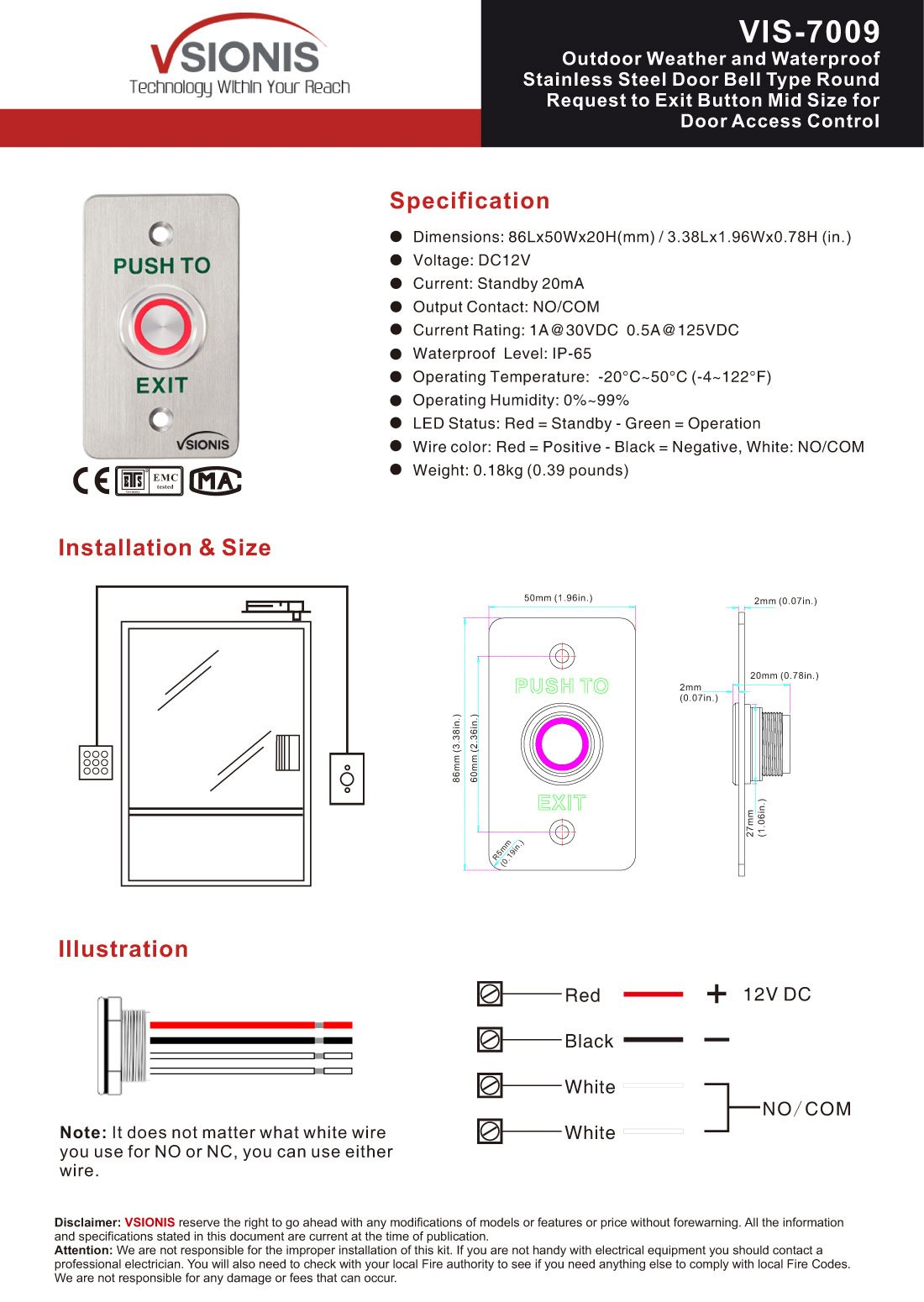 Visionis VIS-7009 Outdoor Weather and Waterproof Stainless Steel Door Bell Type Round Request to Exit Button Mid Size for Door Access Control, C and NO Outputs