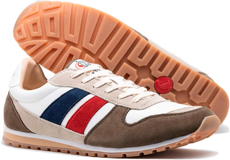 El Ganso Match und Berliner. Schuhe Herren. Sneaker Walking, Low-Top. Wildleder und Textil. Jogging White Ante Textil