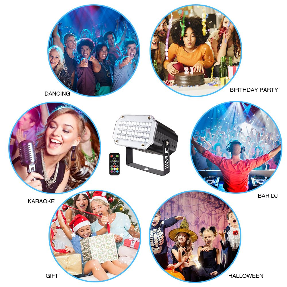 Strobe Light with Remote Remote Control Flash Stage Lighting Super Bright 48 RGB LED Best for DJ Party Show Club Disco Karaoke JLPOW Sound Activated Halloween Mini Strobe Lights