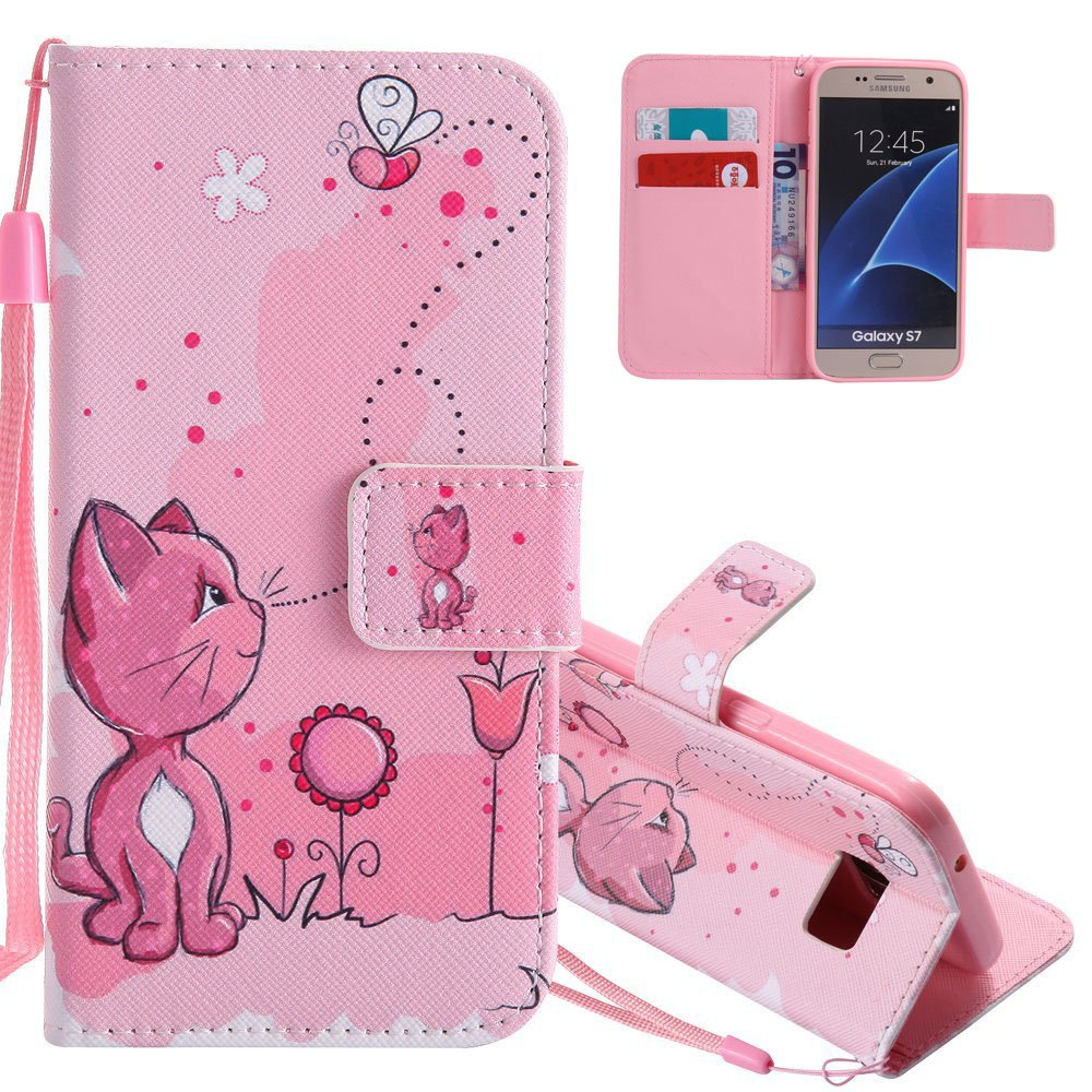 Cuir Etui Housse pour Samsung Galaxy S7 Edge Coque Rose Antichoc Dragonne Portefeuille PU Cuir Etui, Galaxy S7 Edge Coque Flip Leather Case Wallet Protective Cover, Galaxy S7 Edge Coque de Protection Folio Bookstyle Housse, EMAXELERS Galaxy S7 Edge Coque E
