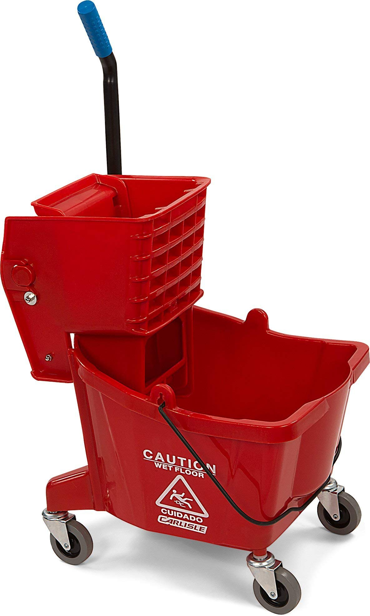 Carlisle 3690805 Commercial Mop Bucket with Side Press Wringer, 26 Quart Capacity, Red (Renewed)