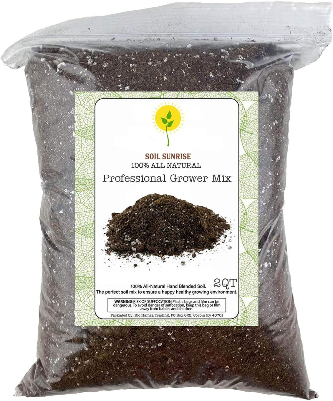 Organic Professional Grower Mix, Fast Draining Potting Soil Blend - 2 Quart Sized Bag