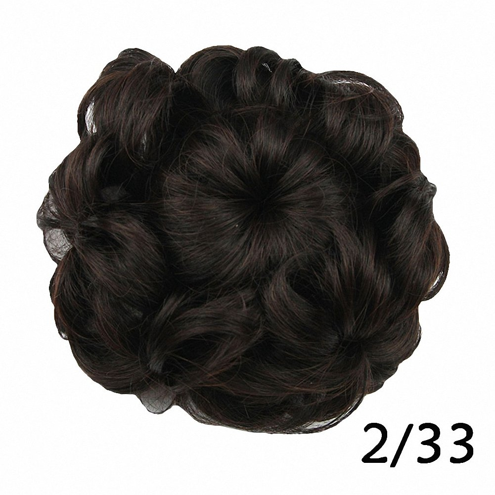 PrettyWit Hair Bun Updo Extensions Donut Hair Chignons Hair Piece Wig Scrunchy Scrunchie Hairpiece Ribbon Ponytail Hair Extensions Bridal Drawstring Hair Chignons Easy Stretch-Strawberry Blonde 27